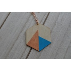 Houten ketting brons/turquoise