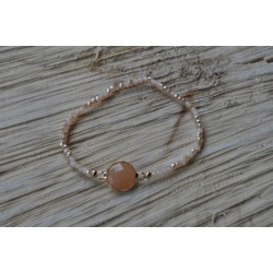 Peach facetkralen armband