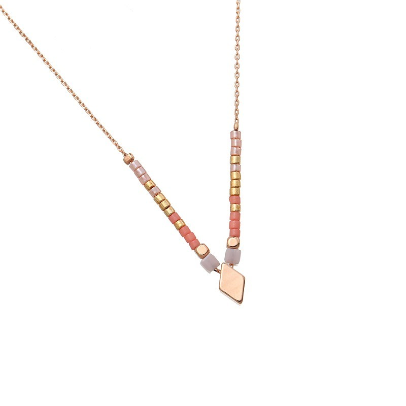 Ketting 'Beads & Diamond' roze